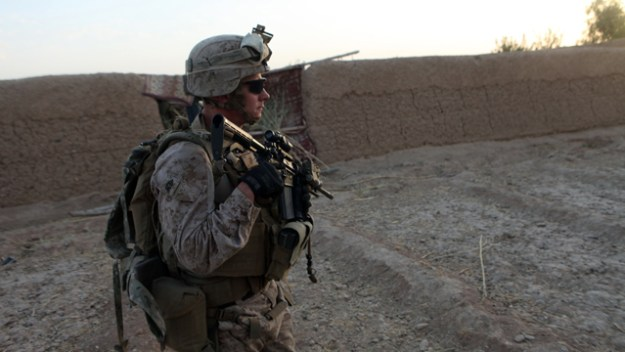 Marine patrols through southern Helmand province, Afghanistan, Sept. 3, 2014. US Marine Corps Photo