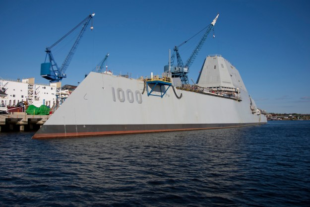 Guided missile destroyer Zumwalt pier-side at General Dynamics Bath Iron Works on Oct. 9, 2014. US Navy Photo