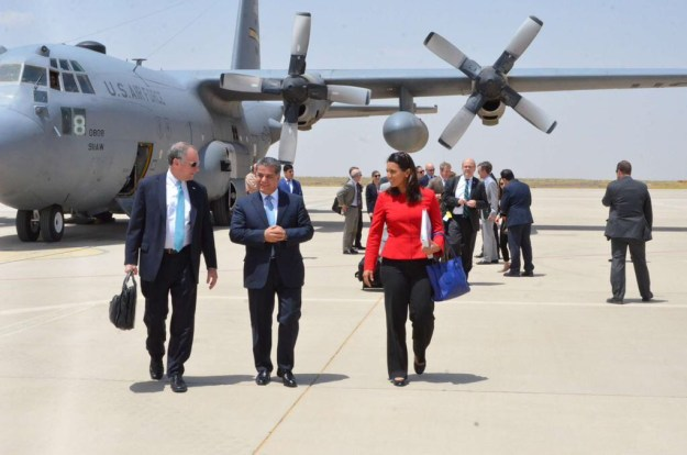 Rep. Tulsi Gabbard (HI-02) and Senator Tim Kaine of Virginia (left) are greeted by Falah Mustafa Bakir (center), Minister of Foreign Relations for the Kurdistan Regional Government. Photo courtesy Rep. Gabbard's office.