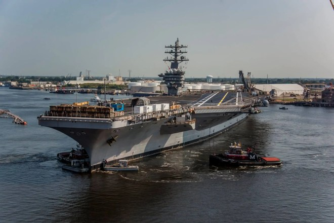 Carrier USS Eisenhower Leaves Norfolk Shipyard After Two Year of Repairs