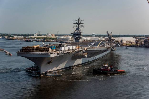 USS Dwight D. Eisenhower (CVN-69) leaves Norfolk Naval Shipyard on Aug. 28, 2015. US Navy Photo