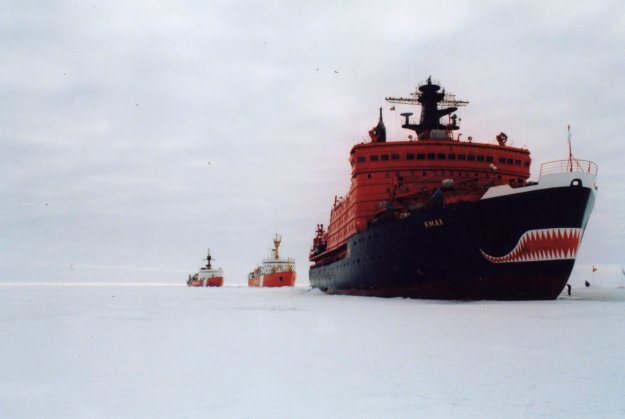 Russian icebreaker Yamal, Canadian icebreaker Louis S. St. Laurent and the Coast Guard Cutter Polar Sea rendezvous near the North Pole in 1994. US Coast Guard Photo