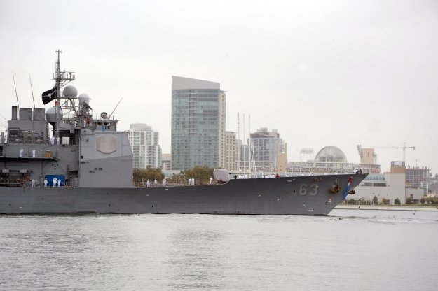 USS Cowpens (CG 63) returns to San Diego following a deployment to the western Pacific in 2014. US Navy Photo