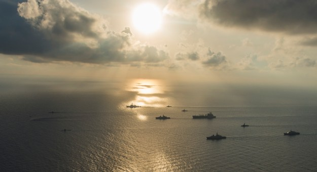 Ships and submarines from the Republic of Singapore navy and U.S. Navy gather in formation during the underway phase of Cooperation Afloat Readiness and Training (CARAT) Singapore 2015 on July 21, 2015. US Navy Photo