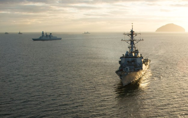 USS Ross (DDG 71) takes part in a ship formation, to begin At Sea Demonstration 2015 (ASD 15) on Oct. 18, 2015. US Navy Photo
