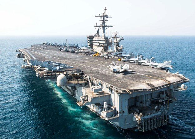 The aircraft carrier USS Theodore Roosevelt (CVN 71) transits the Arabian Gulf on Oct. 2, 2015. US Navy photo.