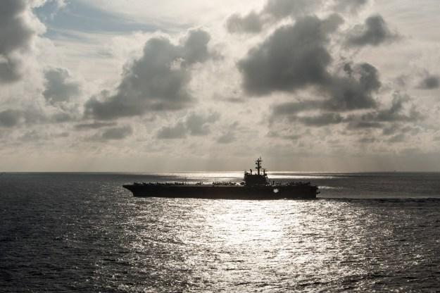 The U.S. Navy's forward-deployed aircraft carrier USS Ronald Reagan (CVN-76) transits the Philippine Sea. US Navy Photo
