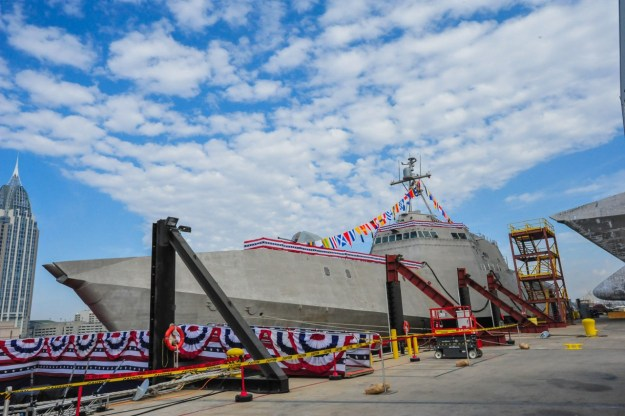 USS Jackson (LCS-6) during its christening ceremony at Austal USA shipyard in Mobile, Ala. in 2014. US Navy Photo
