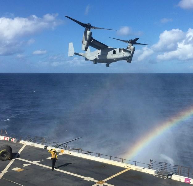 An MV-22 Osprey from Medium Tilt Rotor Squadron (VMM-166) amphibious transport dock ship USS New Orleans (LPD 18) off the coast of Southern California on Nov. 3, 2015. US Navy Photo