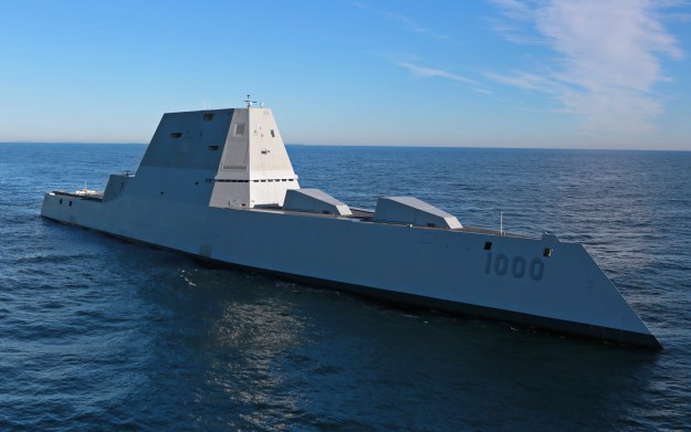 Zumwalt (DDG-1000) is underway for the first time conducting at-sea tests and trials in the Atlantic Ocean on Dec. 7, 2015. US Navy Photo