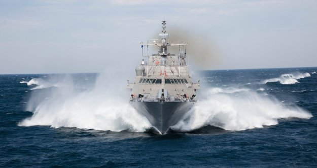 USS Milwaukee (LCS-5) during high-speed runs during sea trials. Lockheed Martin Photo