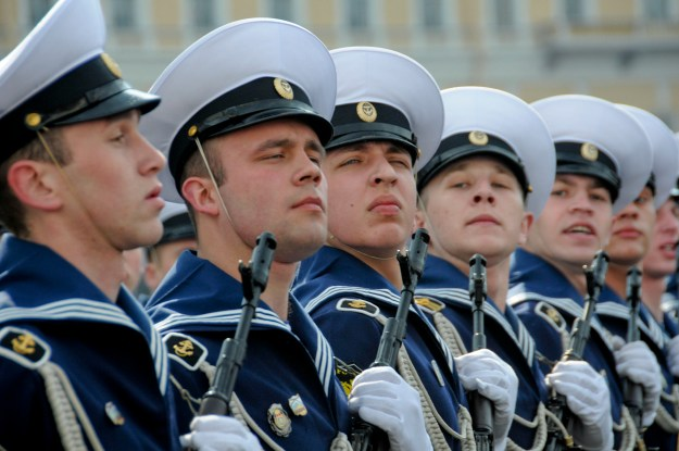 100510-N-9815L-094 ST. PETERSBURG, Russia (May 10, 2010) Russian sailors march in formation during the opening ceremony of the 65th anniversary of the Victory in Europe Day parade. The Russian minister of defense invited Vice Adm. Harry B. Harris Jr., commander of the U.S. 6th Fleet, and the crew of the guided-missile frigate USS Kauffman (FFG 59) to participate in the celebration. (U.S. Navy photo by Chief Mass Communication Specialist Michael Lewis/Released)