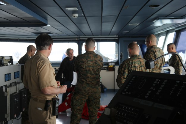 Marines from 3rd Marine Division surveyed the USNS Matthew Perry (T-AKE-9) in order to plan for future operations aboard the ship, maximizing the ship's potential for Marines to operate at sea as they did in the past. US Marine Corps photo.