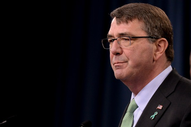 Secretary of Defense Ash Carter speaks at a press conference on May 1, 2015. US Navy Photo