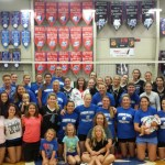 "A HOST OF AREA FANS, friends, family members and students turned out Aug. 20 to watch the 2016 Missouri State University-West Plains Grizzly Volleyball team face alumni of the team in the annul Grizzly Volleyball Alumni Match at the West Plains Civic Center. ""What a great day with our Grizzly Volleyball alumni and their family and friends,"" Head Coach Paula Wiedemann said. ""We had 17 alumni, former Head Coach Trish Kissiar-Knight and a fantastic crowd for the game. It was a fun-filled day of volleyball, old stories and new connections for our former and current players. It's one of our favorite events of the year!"" Front row from left: Morgan Smith, daughter of alumna Holly Morgan-Smith; Wiedemann's daughter, Emma; and alumna Renae Goller-Smith holding daughter Veronica. Second row: Grizzly Cheer Team members Jerica Will, Makayla Koon, Mackenzie Lamb, Karli Habel and Miranda Donnelly; Miranda Smith, daughter of Renae Goller-Smith; current Grizzly Stephanie Phillips; alumnae Perla Quintana, Danielle Parker-Hull, Grace Kiely, Chelsea Taylor-Corp, Candyce Alexander holding daughter Calynn and Kacie Callison; and Wiedemann's daughter, Lily. Third row: Grizzly Cheer Team member Jessie Dowler; alumna and current Strength and Conditioning Coach Keri Elrod holding son Kenton; alumna Tabby Smith-Hall; former Head Coach Knight; alumna Shannon Washburn; alumna and current Assistant Coach Briana Walsh; current players Autumn Reese, Maja Petronijevic and Adriana Darthuy; and alumna Keri Tracy-Pittman. Fourth row: Grizzly Cheer Team members Lindsey Thompson, Maddie Wiehe and Meghan Ledford; Wiedemann; alumnae Loran Ichord-Richardson, Holly Morgan-Smith, Angie Shockley-Jester, Quanna Speake-Hafer and Sara Kincaid; current Grizzlies Kinli Simmons, Elliotte Bourne, Greer Rogers, Kaitlyn Raith, Mikhala McCullough, Johonna Walkup, Rachel Holthaus, Muara Kroon, Catja Weijzen and Blanca Izquierdo. (Photo provided)"