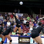 GRIZZLY JOHONNA WALKUP (No. 2), Mtn. View, goes up for a kill during Friday's season home opener against Iowa Western Community College in the West Plains Civic Center. Walkup led the Grizzly attack with 13 kills. Getting ready to respond are, from left, Grizzlies Adriana Darthuy, Blanca Izquierdo and Greer Rogers. (Missouri State-West Plains Photo)