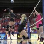 FRESHMAN OUTSIDE HITTER Catja Weijzen goes for a kill during Friday's game against Jefferson College in the Lazy W Pallets/Colton's Steakhouse and Grill/City of West Plains/West Plains Civic Center Grizzly Invitational Volleyball Tournament at the civic center. Weijzen led the Grizzlies in kills with 54 for the weekend. Looking on are freshman middle attacker Rachel Holthaus (No. 8) and sophomore outside hitter Stephanie Phillips (behind Weijzen). (Missouri State-West Plains Photo)