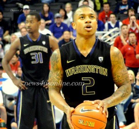 University of Washington player Isaiah Thomas sets his eyes on making his freethrows./Dennis J. Freeman