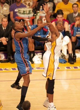 Andrew Bynum and the Los Angeles Lakers could face Kevin Durant and Oklahoma City Thunder in the postseason.