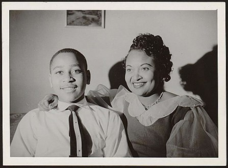 Emmett Till shares a happy moment with his mother, Mamie Till.