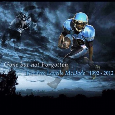 Kendrec McDade is paid homage with this poster of his likeness. Image Credit: @shi_Nicholle via Twitter