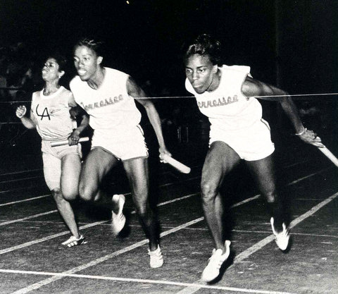 Wyomia Tyus (right) cemented her legacy as one of track and field's greatest sprinters with performances at the 1964 and 1968 Olympic Games. Photo courtesy of Tennessee State University Athletics