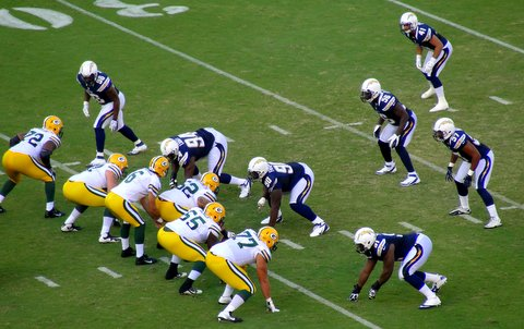 The Chargers defnse look ready to do some damage. Photo Credit: Dennis J. Freeman