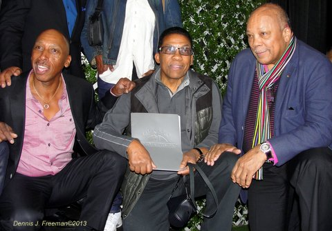 Jazz Masters: Jeffrey Osborne, Herbie Hancock and Quincy Jones appear at the Playboy Jazz Festival pre-media event. Photo Credit: Dennis J. Freeman
