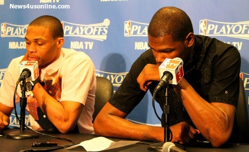 Not a good look: Russell Westbrook and Kevin Durant don't look like happy campers after blowing a big lead and losing Game 4 of the second round of the NBA playoffs to the Los Angeles Clippers. Photo Credit: Dennis J. Freeman/News4usonline.com