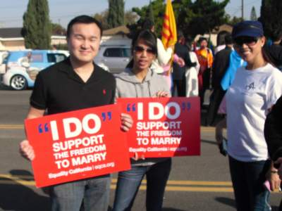 Gay marriage signs at the Tet Parade