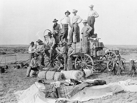 cowboys on the wagon