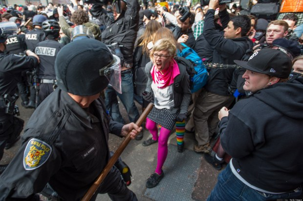 Angry protesters, angry at police brutality and fascism