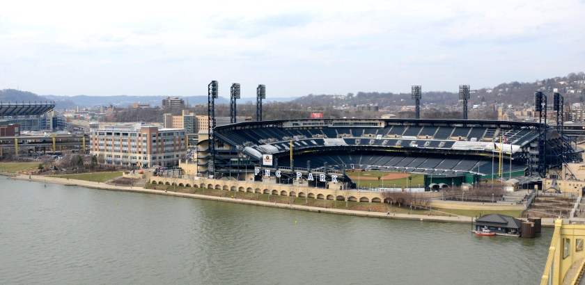 Darrell Sapp/Post-Gazette / Pittsburgh — 03/09/2016 — for sports — for Ben Howard— North Shore Development—  A View of PNC Park , to the right, and Heinz Field , to the far left.     digital image #dsc1946     slug — 20160309dsNorthShoreBucsSports.jpg