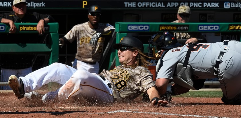 Peter Diana / Post-Gazette 04142016  PITTSBURGH Sports:  Pittsburgh Pirates John Jaso is tagged out by Tigers catcher Bobby Wilson at PNC Park PIttsburgh PA
