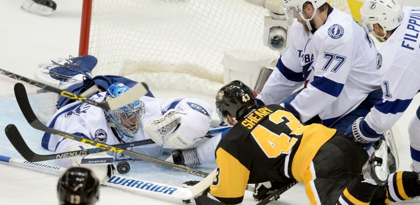Matt Freed/Post-Gazette Lightning goaltender Andrei Vasilevskiy makes a save on Penguins' Conor Sheary in the second period of Game 7 of the Eastern Conference final Thursday at Consol Energy Center.