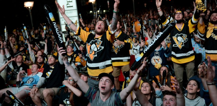 Fans outside of Consol  call for a penalty. (Michael Henninger/Post-Gazette)
