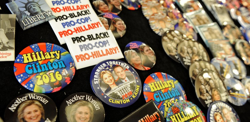 Matt Freed/Post-Gazette Hillary Clinton buttons on display Tuesday at the DoubleTree Hotel in Philadelphia.