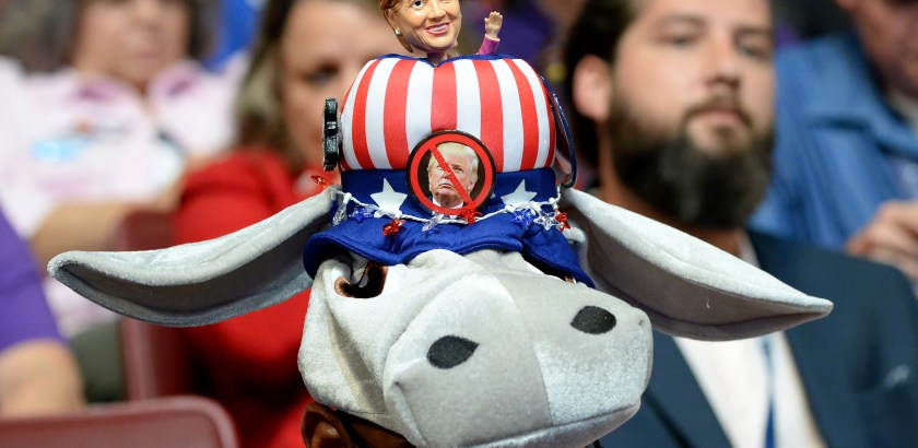 A delegate wears a pro-Hillary hat Wednesday during Day 3 of the Democratic National Convention at Wells Fargo Center in Philadelphia.