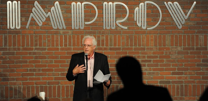 Rebecca Droke/Post-Gazette--Wednesday, August 10,  2016--LOCAL-- Post-Gazette columnist Gene Collier introduces State Senator Jay Costa (D-43) during the 9th Annual Candidates' Comedy Night at the Pittsburgh Improv Comedy Club in Homestead on Wednesday, August 10, 2016. The evening, hosted by Allegheny County Department of Human Services benefited children under the care of child welfare agencies.
