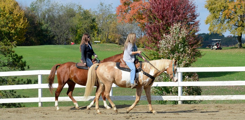 Larry Roberts/Post-Gazette   20161023  horse ride standalone    Against the colors of changing leaves in North Park, Ashlee (cq) Jones (cq), left,  from Gibsonia, and  her mother  Michele (cq) Jones, ride their horses  in the ring, October 23, 2016 Ashlee is riding Missy,  a 12-year-old chestnut quarterhorse mare. while Michele is riding Butters, a 13-year-old palomino-paint gelding.