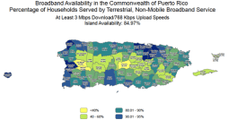 •	About 86 percent of households across the island have service available at basic speeds of 768 Kbps download/200 Kbps upload, which remains unchanged from prior updates.
