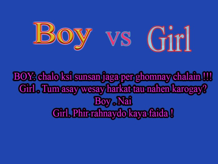 Boy vs girl text