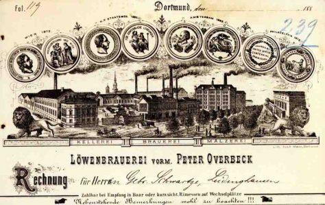 Historischer Briefkopf der Löwenbrauerei aus den 1880er Jahren Foto: WWA Dortmund