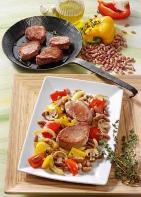 Bohnenpfanne mit Schweinefilet (Rezept für Diabetiker) Foto: Wirths PR