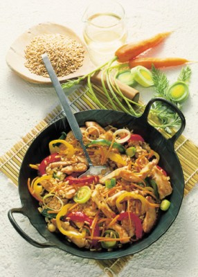 Diät-Rezept: Gemüsepfanne mit Putenfleisch Foto: Wirths PR