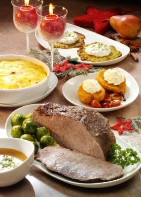 Weihnachtsmenü Rinderbraten mit Rosenkohl und Kartoffelgratin Foto: Wirths PR