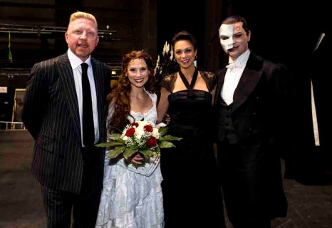 Boris Becker, Valerie Link, Lilly Becker + Christian Edenborn nach der Premiere von dem Musical 'DAS PHANTOM DER OPER' im Theater Neue Flora in Hamburg am 28.11.2013. Foto: Stage Entertainment/Morris Mac Matzen