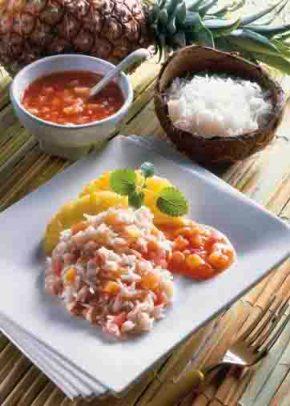 """Reis-Rezepte: Tomaten-Ananas-Reis """"Hawaii"""" Foto: Wirths PR"""