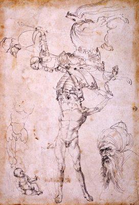 Albrecht Dürer (1471–1528) Skizzenblatt mit sechs Figurstudien, um 1494 Gabinetto Disegnie e Stampe deglie Uffizi, Florenz © Su concessione del Ministero dei beni e delle attività culturali e del turismo