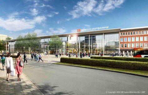 Hbf-Empfangsgebäude_Straßenseite-Tag  Grafik/Quelle: DB S&S AG, I.SBP